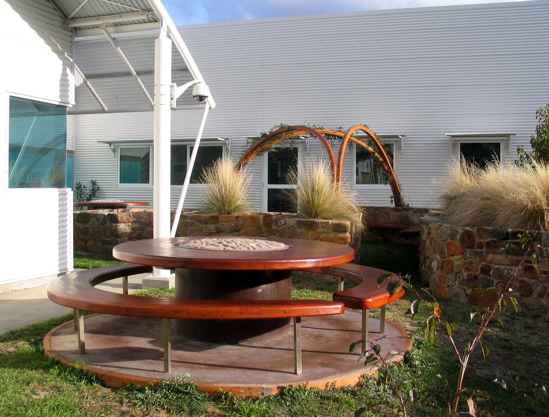 Forensic Science Lab Outside Table Curved Wood Creations Tasmania